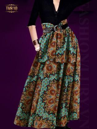 Set áo đen và chân váy họa tiết dáng dài thời trang TV810