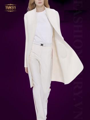 Áo dạ vest dáng dài màu trắng cao cấp TV831