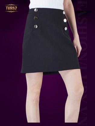 Chân váy Hàn Quốc cao cấp 6 khuy thời trang TV852 (Màu đen)