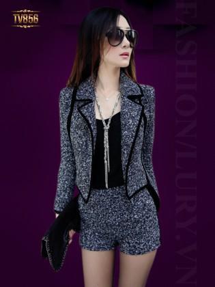 Set thiết kế áo vest ghi high-low phối viền đen + quần short thời trang TV856