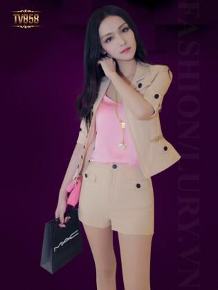 Set thiết kế áo khoác phối xích+ quần sooc thời trang TV858