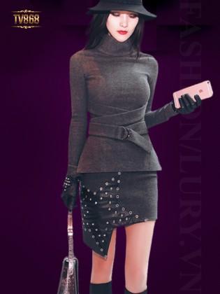Set áo ghi cổ cao phối đai eo +chân váy ngôi sao thời trang TV868