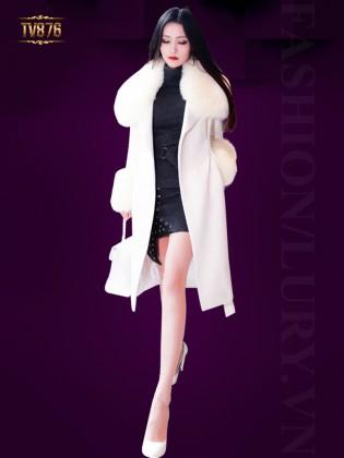 Áo khoác dạ trắng dáng dài phối lông chồn cao cấp TV876