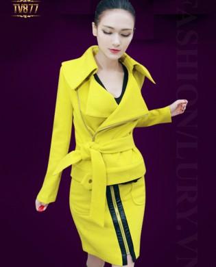 Set áo khoác dạ kéo khóa dáng ngắn + chân váy 2 túi viền da cao cấp TV877