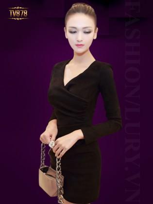 Đầm đen body cổ V eo xếp li cao cấp TV878
