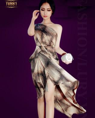 Đầm dài highlow họa tiết lệch vai quyến rũ TV881