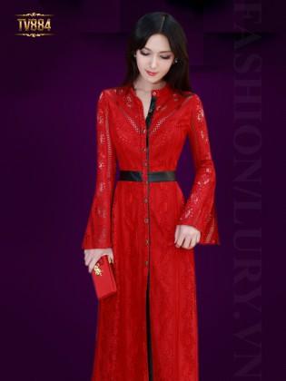 Đầm hoa ren đỏ dáng dài chiêt eo TV884