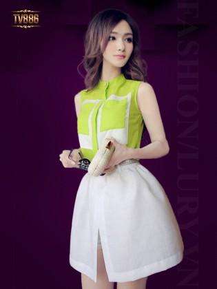 Set bộ đồ Hàn Quốc áo sát nách quần giả váy trắng TV886