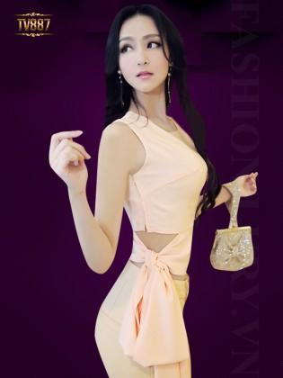 Set bộ thiết kế áo sát nách eo nơ + quần dài cao cấp TV887