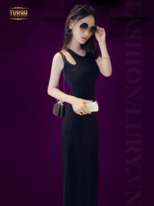 Đầm đen sát nách dáng dài vai cutout quyến rũ TV899