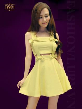 Đầm nơ vàng hai dây cutout thời trang TV901