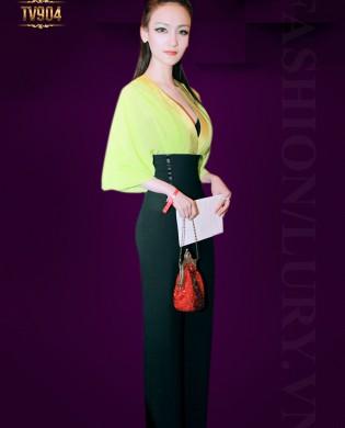 Jumpsuit cao cấp áo cổ V sâu phối quần cạp cao TV904