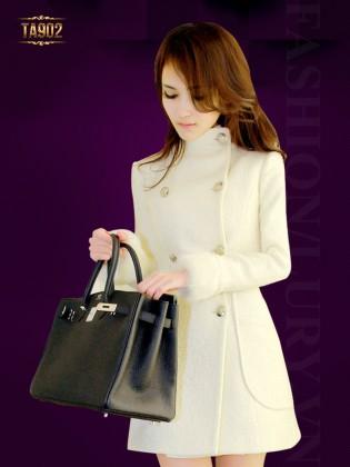 Áo khoác dạ nữ cổ trụ tay phối lông cao cấp TA902