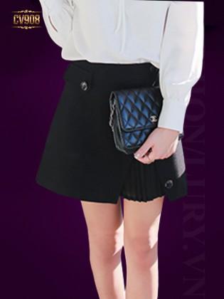 Chân váy ngắn 2 lớp xếp li trong thời trang CV908 (Màu đen)