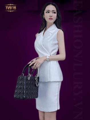 Set bộ thiết kế áo sát nách+ chân váy trắng sang trọng TV916