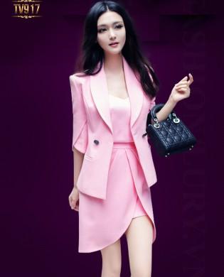 Set bộ thiết kế áo vest tay lửng + chân váy hồng cao cấp TV917