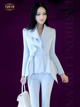 Set bộ thiết kế áo khoác 2 túi + quần âu dáng dài thời trang TV918