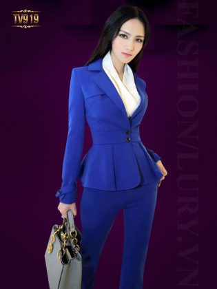 Set bộ thiết kế áo vest peplum 2 cúc + quần âu dài thời trang TV919