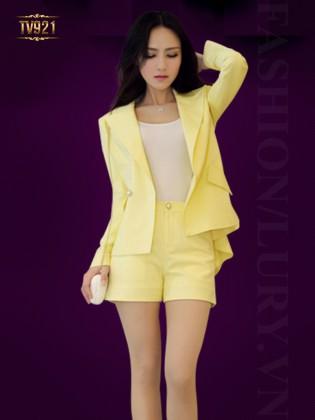 Set bộ thiết kế áo vest dài tay+ quần short vàng cao cấp TV921