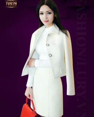 Set bộ thiết kế áo khoác ngắn+ chân váy zuyp màu trắng cao cấp TV928