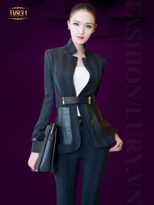 Set bộ kẻ thiết kế áo vest 2 túi da + quần âu dài thời trang TV931