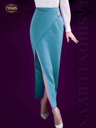 Chân váy xanh dài xẻ đính cúc xẻ vạt lệch cao cấp CV945