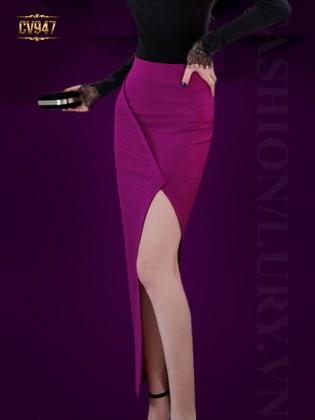 Chân váy hồng dáng dài xẻ vạt viền lệch cao cấp CV947