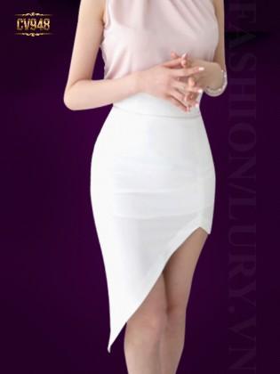 Chân váy ngắn high low vạt chéo thời trang CV948 (Màu trắng)
