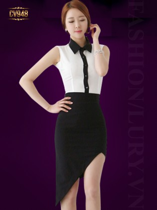 Chân váy ngắn high low vạt chéo thời trang CV948 (Màu đen)