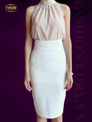 Chân váy bút chì màu trắng cao cấp xẻ vạt sau CV949