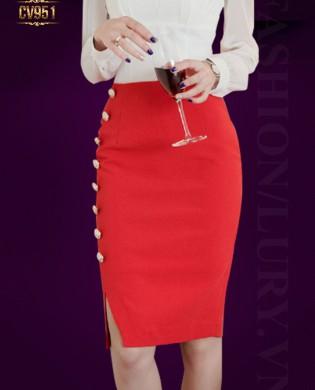 Chân váy bút chì màu đỏ khuy hông cao cấp CV951