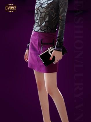 Chân váy mini túi hộp phối viền da cao cấp CV952