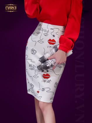 Chân váy bút chì họa tiết đôi môi cao cấp CV953