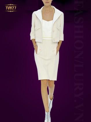Set thiết kế áo vest lửng + chân váy bút chì cao cấp TV827