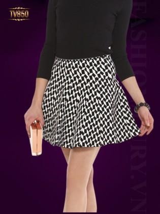 Chân váy xòe Hàn Quốc họa tiết hình học đen trắng TV850