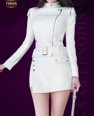 Set đồ áo khoác dài tay khóa trước + quần váy giả váy cao cấp TV855