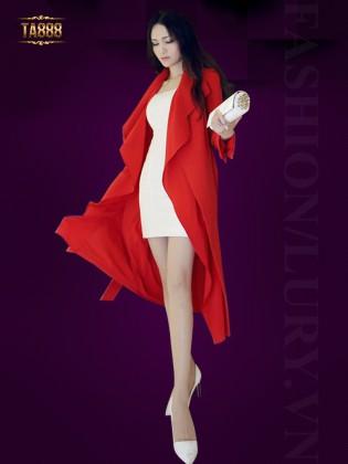 Áo khoác đỏ dáng dài ve áo thời trang TA888