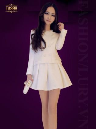 Áo khoác nữ Hàn Quốc cổ tròn xẻ lưng sau thời trang TA898