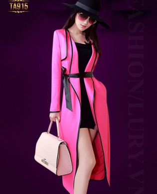 Áo khoác hồng dáng dài xẻ vạt phối viền đen cao cấp TA915