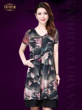 Đầm hoa voan 2 lớp cổ tim thời trang TV1014
