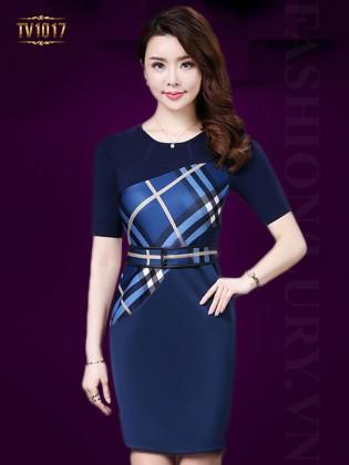 Đầm suông xanh thân áo phối kẻ lệch thời trang TV1017