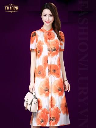 Đầm suông hoa cam cổ tàu thời trang TV1029