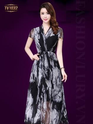 Đầm voan xòe họa tiết cổ V bắt chéo thời trang TV1032