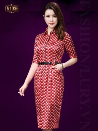 Đầm suông hoa tim dây lưng thời trang TV1035 (Màu đỏ)