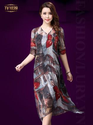 Đầm voan họa tiết 2 lớp cổ tim khuy thời trang TV1039