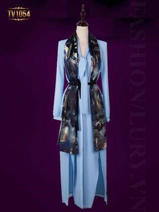 Đầm xanh dài tay xẻ vạt kèm khăn quàng thời trang TV1054