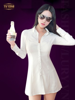 Váy somi trắng dài tay đẹp TV1059
