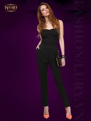 Jumpsuit quây dài hở lưng màu đen thời trang TV1107