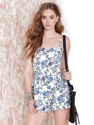 Jumpsuit short hoa xanh 2 dây thời trang TV1108