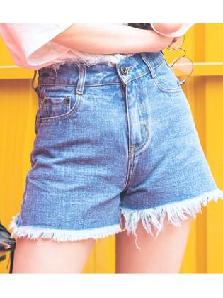 Quần short jean tua rua đẹp TQ1159 (Xanh denim)